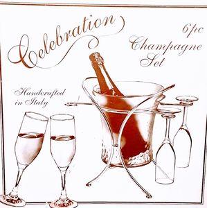 New Godinger Italy 6pc Champagne Set